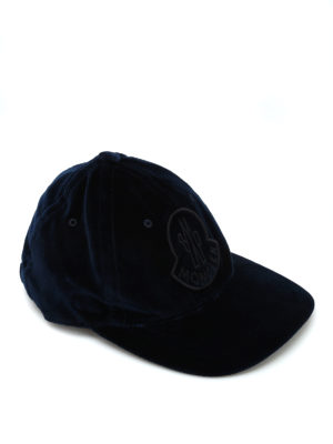 MONCLER: cappelli - Cappellino da baseball in velluto blu