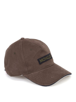Moncler: hats & caps - Cotton logo patch cap