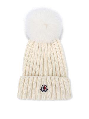 Moncler: hats & caps - Fur pompon wool beanie