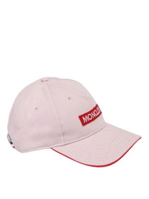 Moncler: hats & caps - Logo patch cotton cap