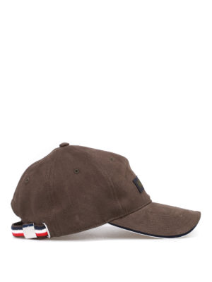 Moncler: hats & caps online - Cotton logo patch cap