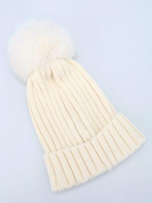 Moncler: hats & caps online - Fur pompon wool beanie