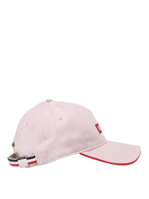 Moncler: hats & caps online - Logo patch cotton cap