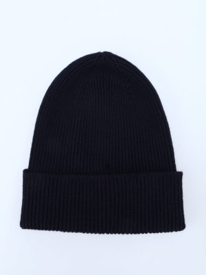 Moncler: hats & caps online - Rib knitted wool beanie