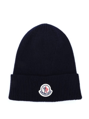 Moncler: hats & caps - Rib knitted wool beanie