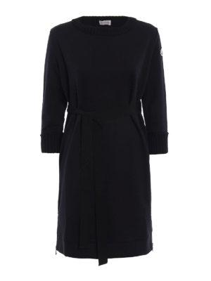 Moncler: knee length dresses - Cotton crew neck dress
