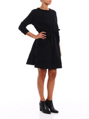 Moncler: knee length dresses online - Cotton crew neck dress