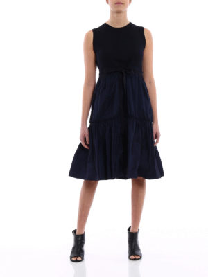 Moncler: knee length dresses online - Technical fabric and cotton dress