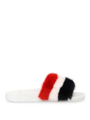 MONCLER: Mocassini e slippers - Sandali in pelle e pelliccia tinta
