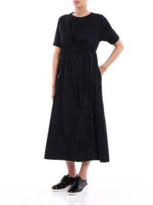 Moncler: maxi dresses online - Cotton and tech taffeta midi dress