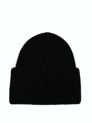 MONCLER: berretti online - Berretto Moncler in lana a coste nera