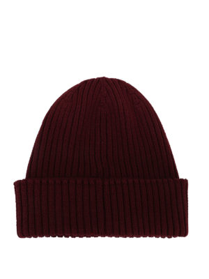 MONCLER: berretti online - Berretto in lana a coste color vinaccia