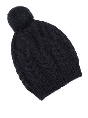 MONCLER: berretti online - Berretto a trecce con pompon
