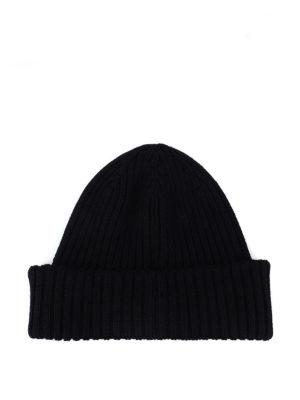MONCLER: berretti online - Berretto blu scuro in lana a coste