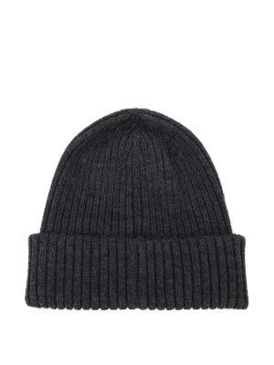 MONCLER: berretti online - Berretto grigio scuro in lana a coste