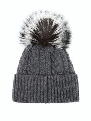 MONCLER: berretti online - Berretto grigio a trecce con pelliccia