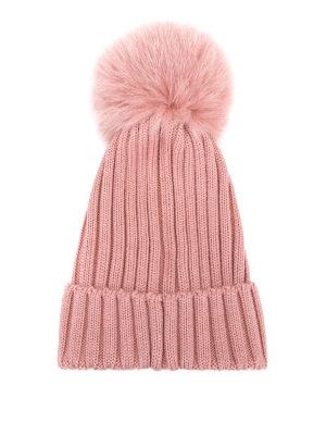 MONCLER: berretti online - Berretto in lana rosa con pompon in pelliccia