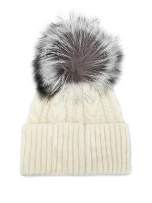 MONCLER: berretti online - Berretto bianco a trecce con pelliccia