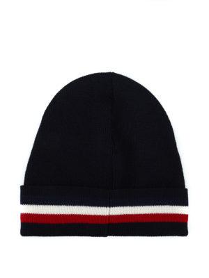 MONCLER: berretti online - Berretto in lana blu con risvolto a righe
