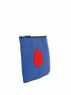 MONCLER: pochette online - Busta in pelle blu elettrico Pouch GM