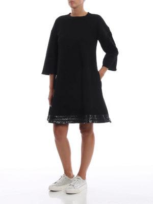 MONCLER: abiti al ginocchio online - Abito ad A in cotone con bordo in nylon