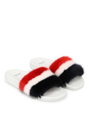 MONCLER: Mocassini e slippers online - Sandali in pelle e pelliccia tinta
