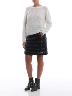 MONCLER: minigonne online - Minigonna piuma in nylon lucido nero