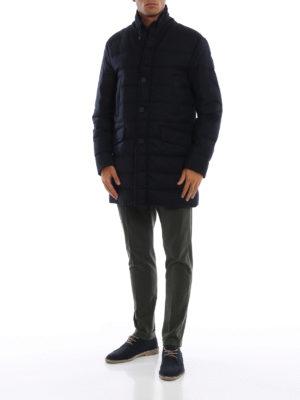MONCLER: cappotti imbottiti online - Cappotto imbottito Keid in twill blu di lana