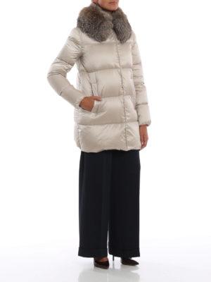 MONCLER: cappotti imbottiti online - Piumino Loriot con collo in pelliccia