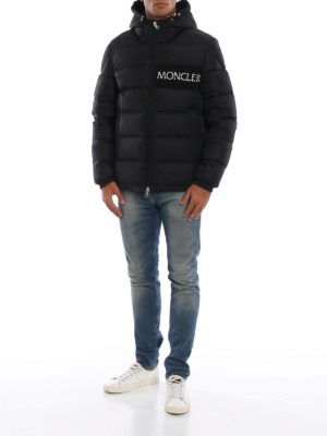 MONCLER: giacche imbottite online - Piumino nero Aiton con logo ricamato
