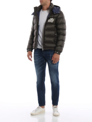 MONCLER: giacche imbottite online - Piumino Bramant verde muschio con cappuccio