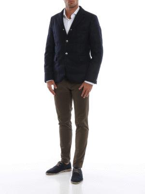 MONCLER: giacche imbottite online - Blazer imbottito Regor in panno di lana blu