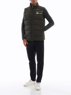 MONCLER: giacche imbottite online - Gilet piuma Deneb color muschio