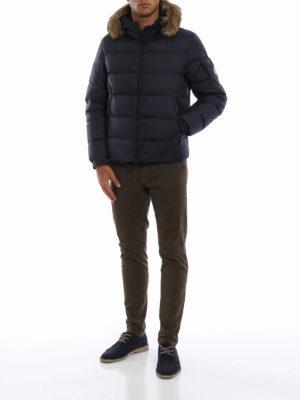 MONCLER: giacche imbottite online - Piumino corto Marque con bordo di pelliccia