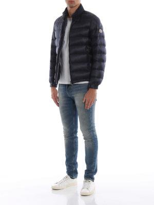 MONCLER: giacche imbottite online - Piumino Rodez blu con cappuccio nascosto