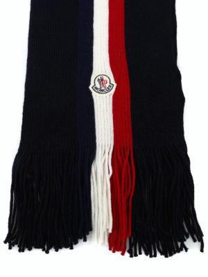 MONCLER: sciarpe e foulard online - Sciarpa in lana blu con righe tricolori