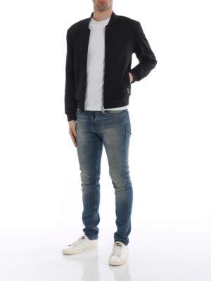 MONCLER: Felpe e maglie online - Felpa nera con bande logo