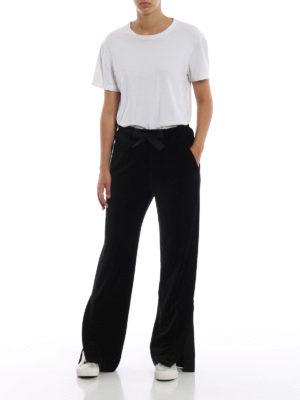 MONCLER: pantaloni sport online - Pantaloni sportivi larghi in velluto nero