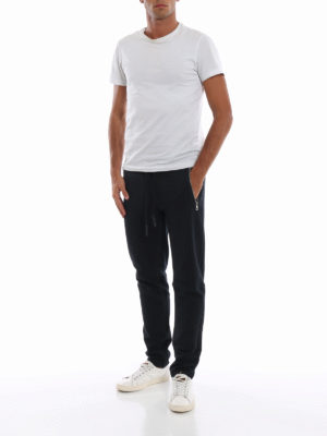 MONCLER: pantaloni sport online - Pantaloni da tuta blu in cotone