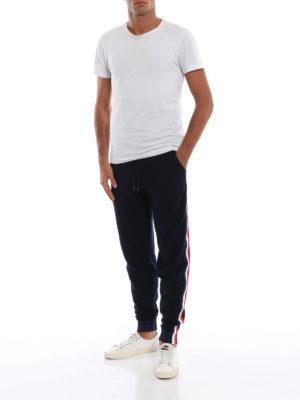MONCLER: pantaloni sport online - Pantaloni sportivi in maglia di lana blu