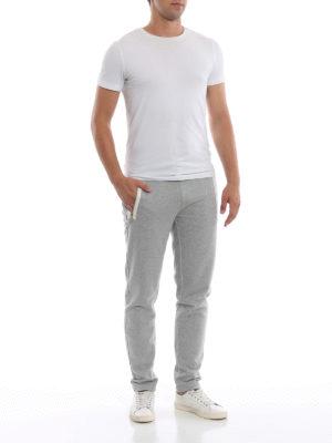MONCLER: pantaloni sport online - Pantaloni da tuta grigi chiari in cotone