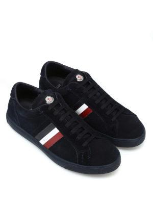 MONCLER: sneakers online - Sneaker La Monaco in suede blu scuro