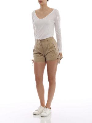 MONCLER: pantaloni shorts online - Bermuda kaki in drill di cotone