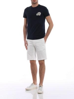 MONCLER: pantaloni shorts online - Bermuda bianchi in cotone stretch