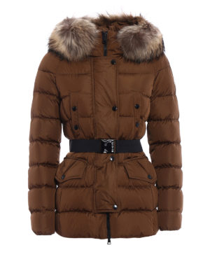 Moncler: padded coats - Clio fur detailed padded coat