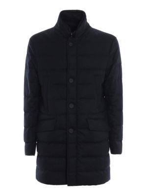 MONCLER: cappotti imbottiti - Cappotto imbottito Keid in twill blu di lana