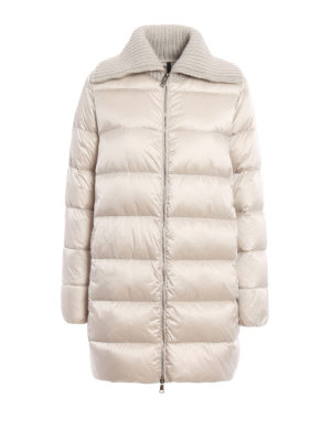 Moncler: padded coats - Laburnum wool collar padded coat