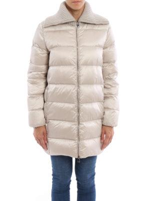 Moncler: padded coats online - Laburnum wool collar padded coat