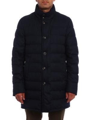 Moncler: padded coats online - Vallier dark blue wool padded coat