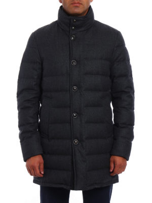 Moncler: padded coats online - Vallier grey wool padded coat